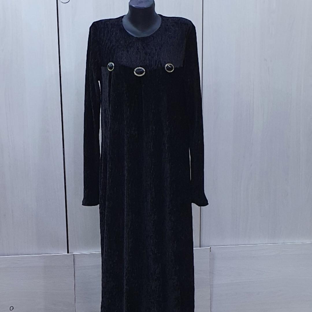 Платье велюр - фото 1