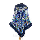 Павловопосадский платок «Княжна» с мехом песца цвет графит (146х146см), фото 2