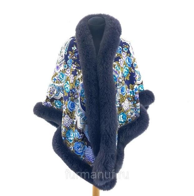 Павловопосадский платок «Княжна» с мехом песца цвет графит (146х146см)