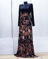 Платье велюр с пом бархатом