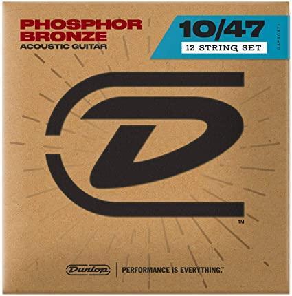Комплект струн для 12-струнной акустической гитары, фосф.бронза, Light, 10-47, Dunlop DAP1047J