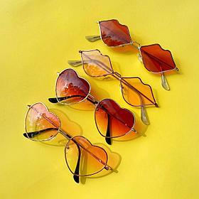 Стильные очки в виде сердечка, поцелуя