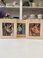 Подарочный набор, букетик сухоцвета + ваза ,асс.цветов ,высота 15-18 см