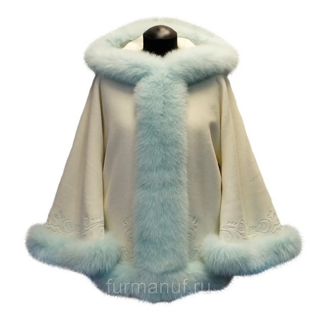 Кашемировое пальто с мехом песца мятного цвета