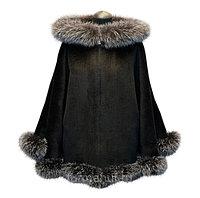 Кашемировое пальто на молнии с капюшоном и мехом блюфрост