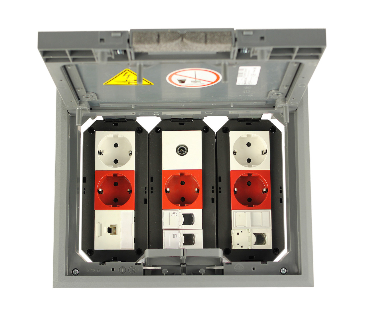OBO Bettermann Лючок Напольный GES6-2U (9 модулей Modul 45) серый