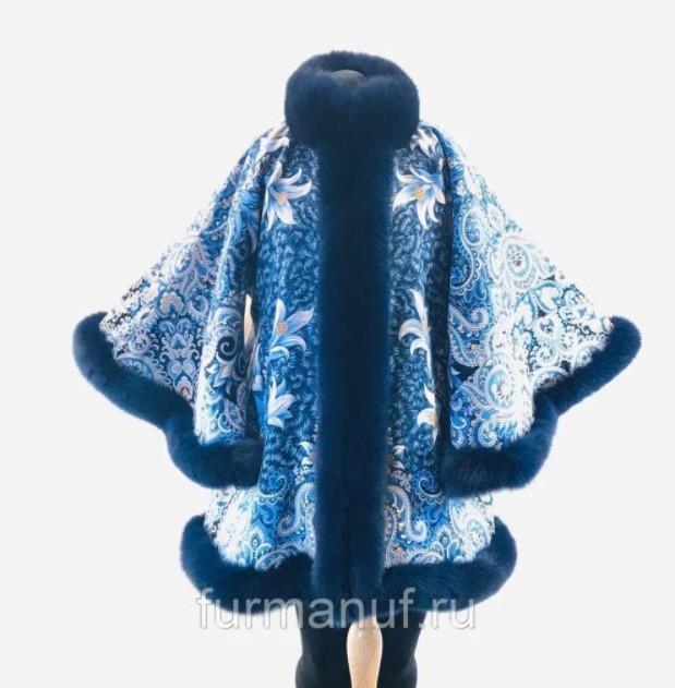 Пальто из павловопосадских платков с мехом