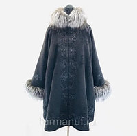 Пальто черное с мехом и вышивкой