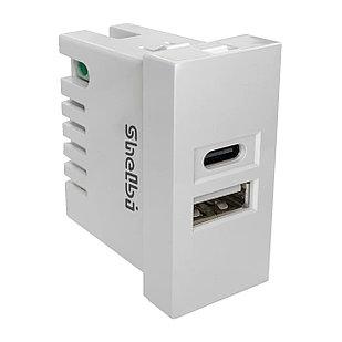 Shelbi 2- портовая USB и Type-C Розетка зарядка 45х22.5