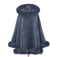 Женское бархатное пальто с мехом