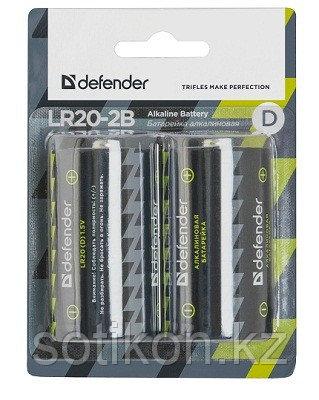 Элемент питания LR20 D Defender Alkaline LR 20 -2 штуки в блистере