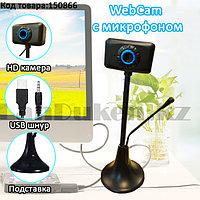 Веб-камера WebCam с микрофоном на гибкой ножке настольный HD 480 p черно-синий