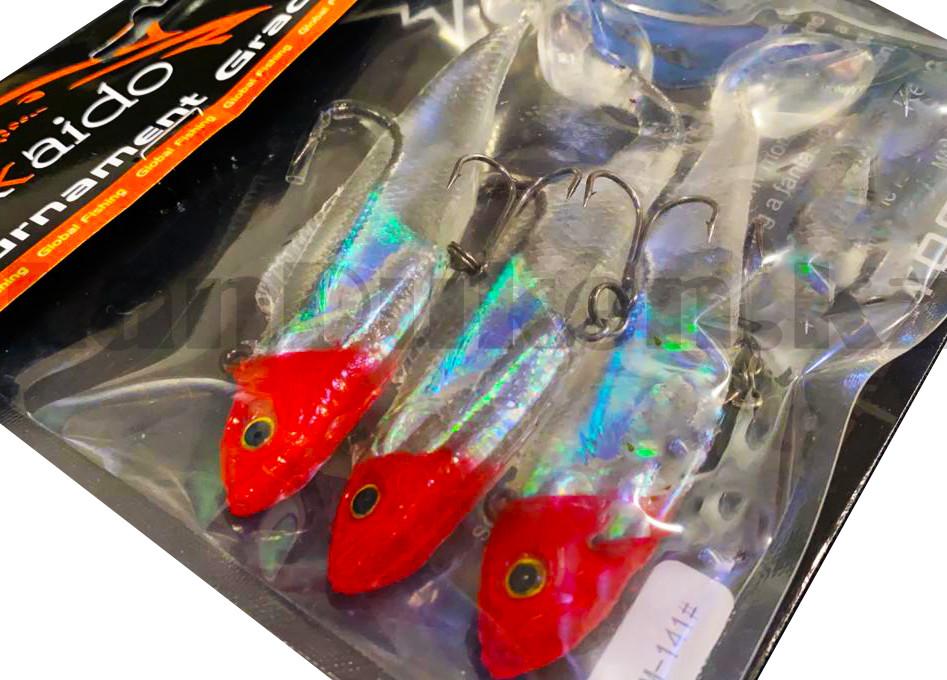 Набор виброхвостов с крючком 3 шт Hokkaido 141 12 см (рыболовные приманки) - фото 5