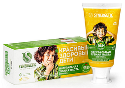 Детская зубная паста SYNERGETIC клубничка и банан, от 3 до 6 лет (желтая), 50гр.