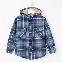 Куртка детская, цвет синий/клетка, рост 98 см