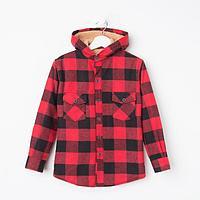 Куртка детская, цвет красный/клетка, рост 128 см
