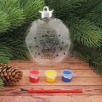 Новогоднее ёлочное украшение под роспись «Шар с Дедом морозом 2» шар:3×10×11 см + краски