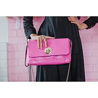 Клатч женский, отдел на молнии, наружный карман, с ручкой, длинная цепь, цвет фуксия