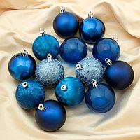 """Набор шаров пластик d-6 см, 24 шт """"Преломление"""" синий"""