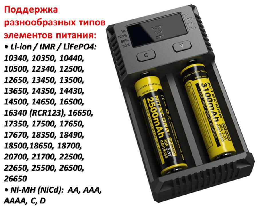 Универсальное зарядное устройство для батареек Nitecore Intellicharger NEW i2 - фото 1