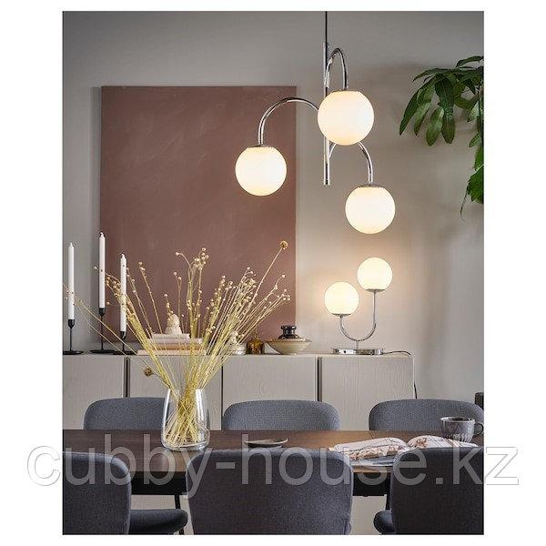 СИМРИСХАМН Подвесной светильник, 3-рожк, хромированный/молочный стекло