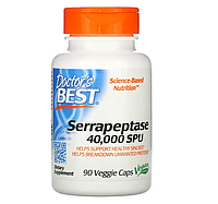 Doctor's Best, Серрапептаза Best, 40 000 SPU, 90 растительных капсул