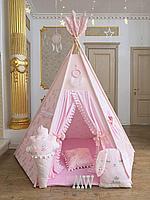 Детская палатка вигвам с ковриком и подушками розовые зайки