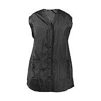 Халат для парикмахера Е-7003 на кнопках, без рукавов, удлиненный черный, размер S №10504