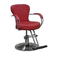 """H-982 Кресло парикмахерское (красное, """"мятая кожа"""")"""