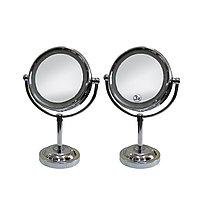 Зеркало для клиентов двухстороннее настольное с подсветкой 3Х, пластик. на ножке №73323(2)