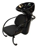 L-601 Мойка парикмахерская с креслом (черная, гладкая)