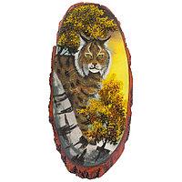 """Картина на срезе дерева """"Рысь в осеннем лесу"""" 70-75 см из каменной крошки"""
