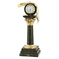 """Часы """"Капитель"""" камень змеевик"""