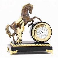 """Настольные часы """"Конь на дыбах"""" бронза долерит"""