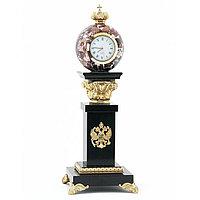 """Настольные часы с шаром """"Корона"""" из бронзы и камня"""