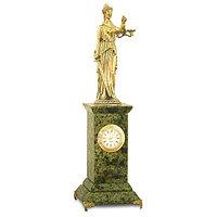 """""""Фемида - богиня правосудия"""" - декоративные часы с фигуркой из бронзы камень змеевик"""