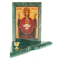 Икона с подсвечником Неупиваемая Чаша малая змеевик 9,5х9,5х10 см