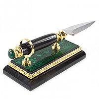 Канцелярский нож для бумаг на подставке из малахита