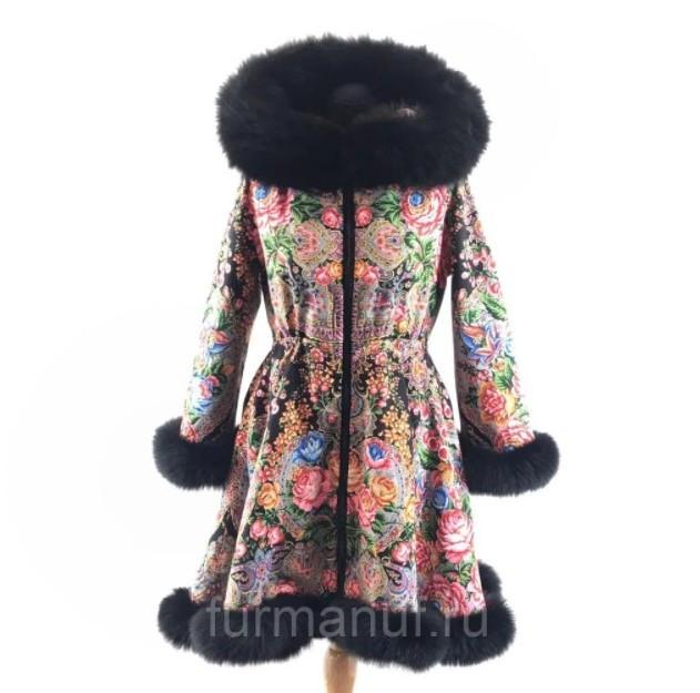 Утепленное пальто с мехом