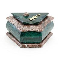 Шкатулка камень змеевик, креноид 14х8х8 см