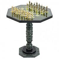 """Шахматный стол фигуры """"Римские"""" из бронзы и змеевика"""