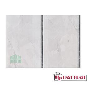 "Стеновая ПВХ панель ""Hast Plast"" 2-ух полосная (серебро, серый мрамор глянцевый)"
