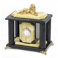"""Настольные часы """"Царь зверей"""" камень офиокальцит бронза"""