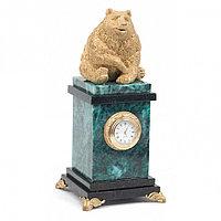 """Настольные часы """"Медведь сидит"""" змеевик"""