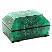 """Малахитовый ларец """"Люкс"""" из натурального камня малахит 17х12,5х9,5 см"""