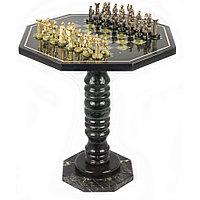 "Шахматный стол ""Римляне"" бронза змеевик"