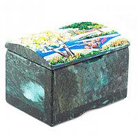 """Шкатулка с рисунком из каменной крошки """"Весна"""" камень змеевик 10х7х6,5 см"""