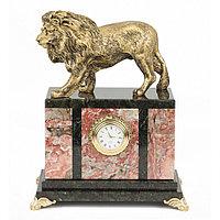 """Настольные часы из камня """"Гордый лев"""" креноид"""