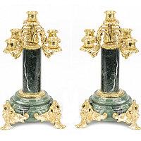 Канделябры из бронзы и камня 5 свечей пара