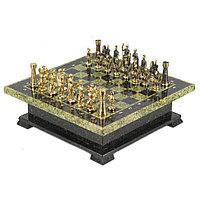 """Подарочный шахматный ларец фигуры """"Римские"""" из бронзы доска из камня"""